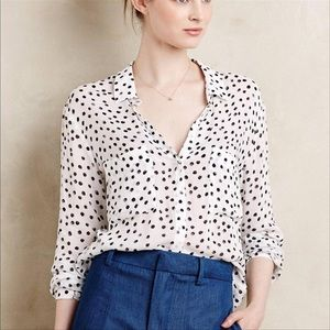 Anthro Cloth & Stone Dalmatia Print Button Up Dots